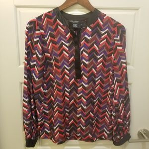 ETCETERA Red Eccentric Print Silk Career Blouse